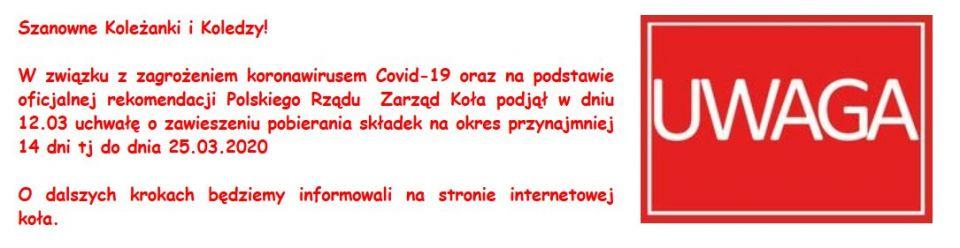 UWAGA  Członkowie Koła PZW nr 86 KWK Śląsk